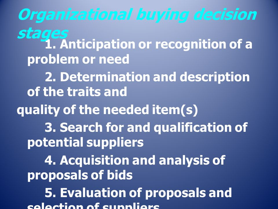 Organizational buying decision stages