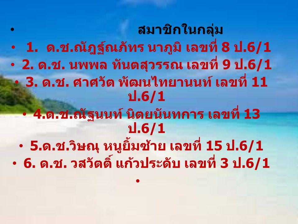 1. ด.ช.ณัฎฐ์ณภัทร นาภูมิ เลขที่ 8 ป.6/1