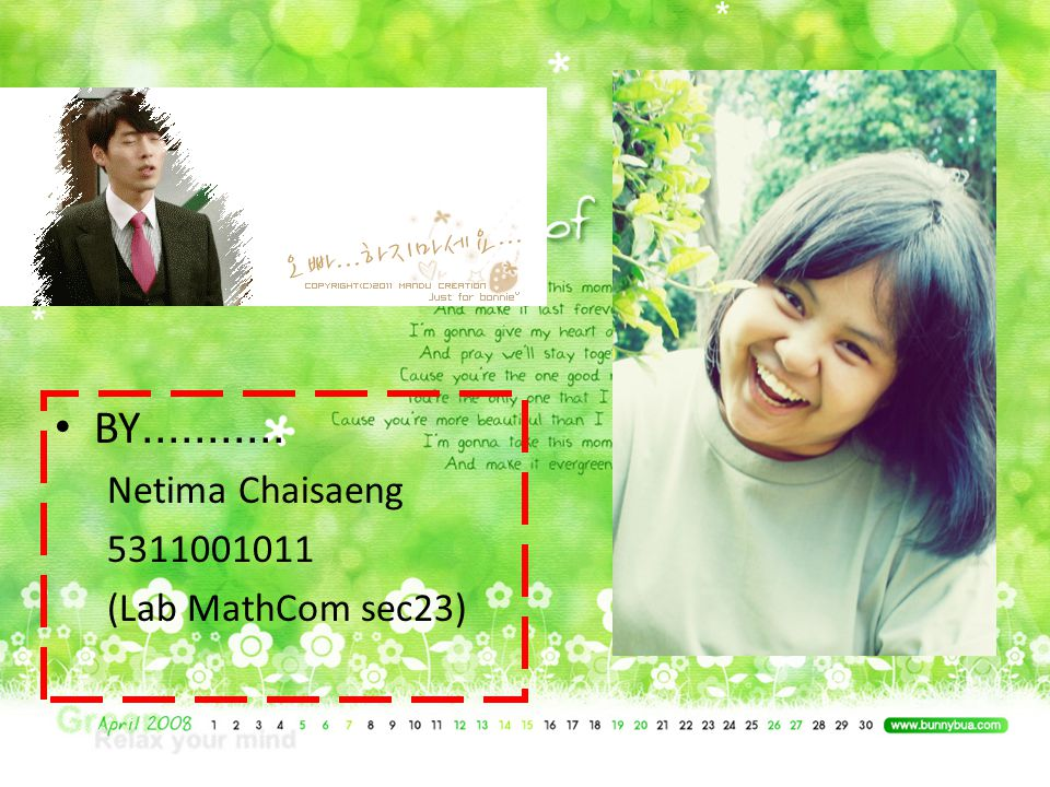 BY........... Netima Chaisaeng 5311001011 (Lab MathCom sec23)