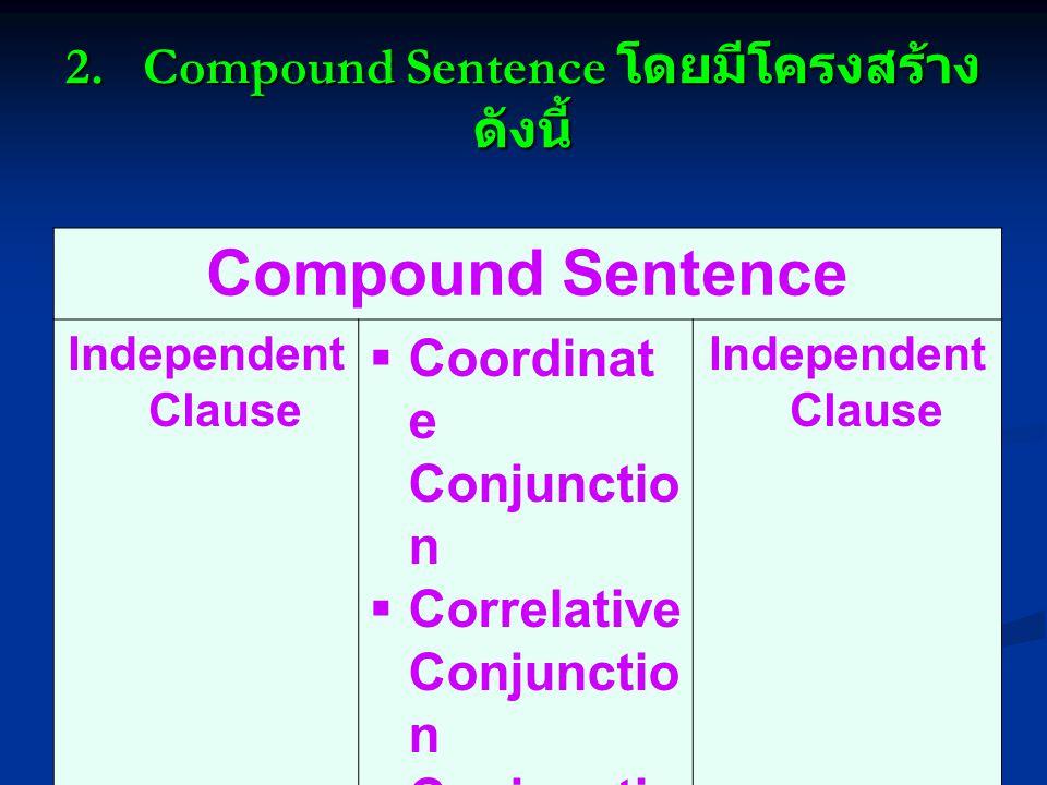2. Compound Sentence โดยมีโครงสร้างดังนี้