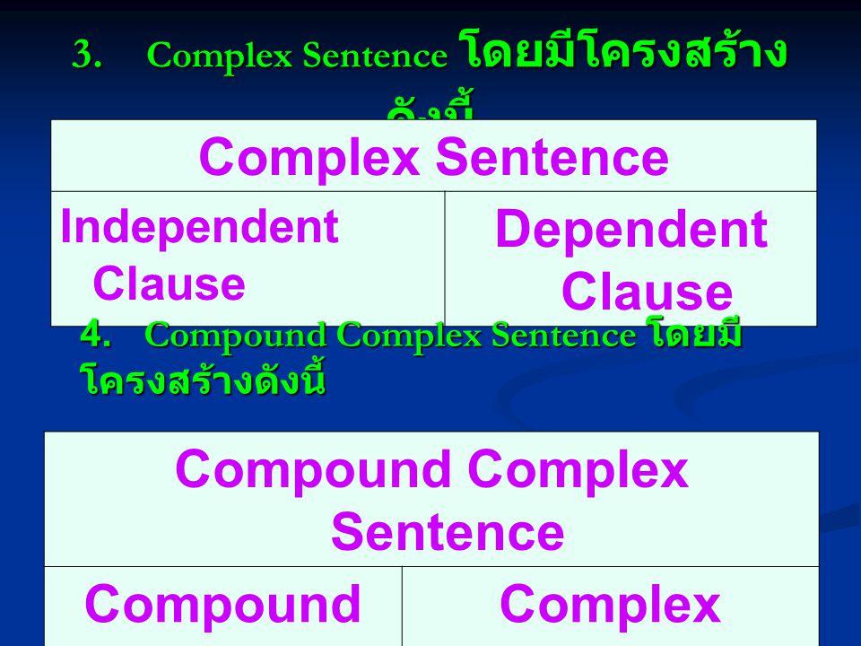 3. Complex Sentence โดยมีโครงสร้างดังนี้
