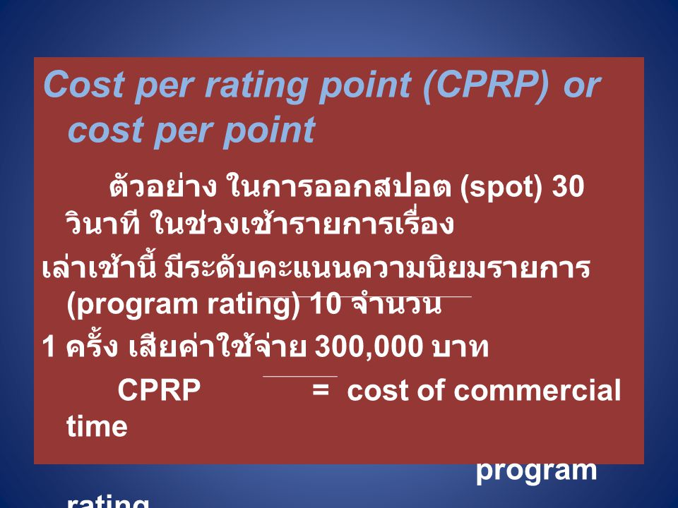 Cost per rating point (CPRP) or cost per point