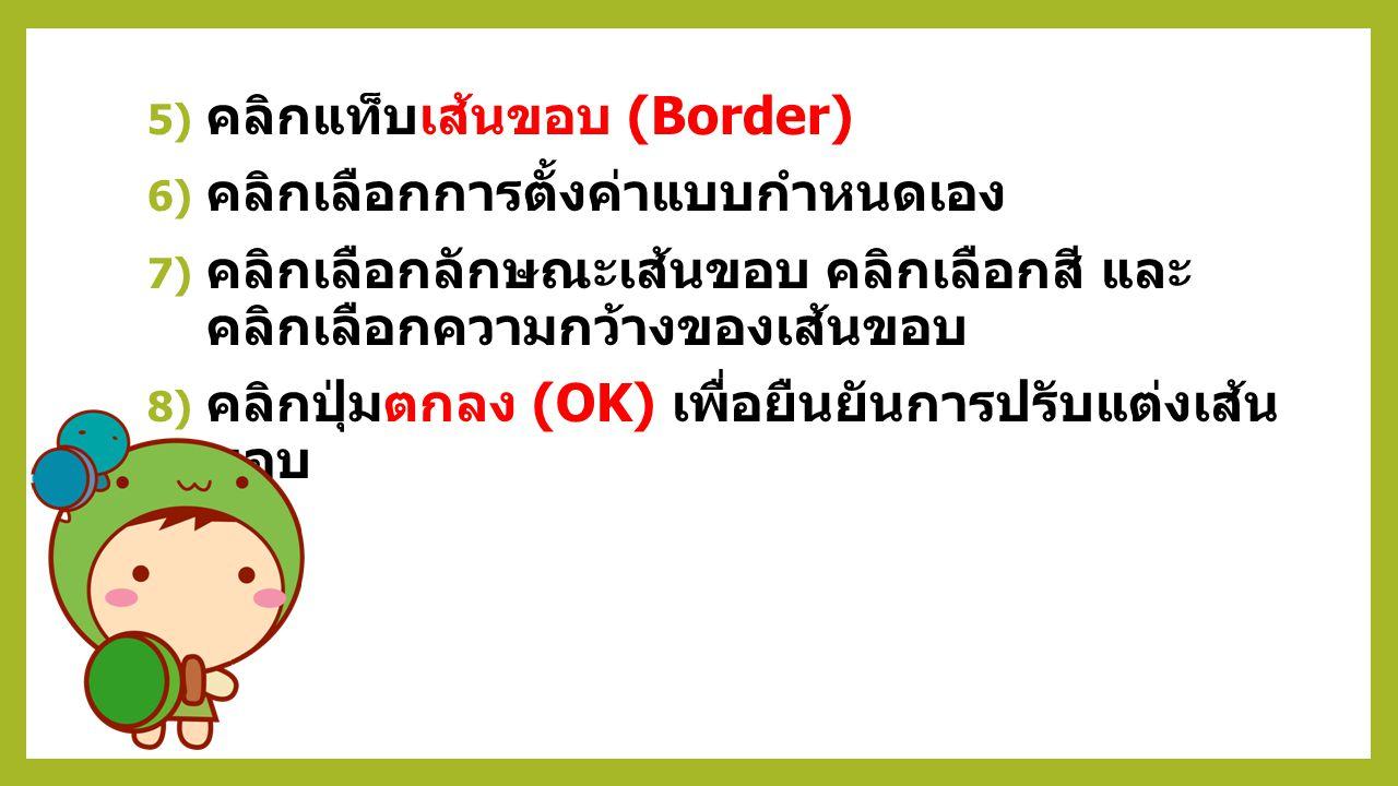 คลิกแท็บเส้นขอบ (Border)