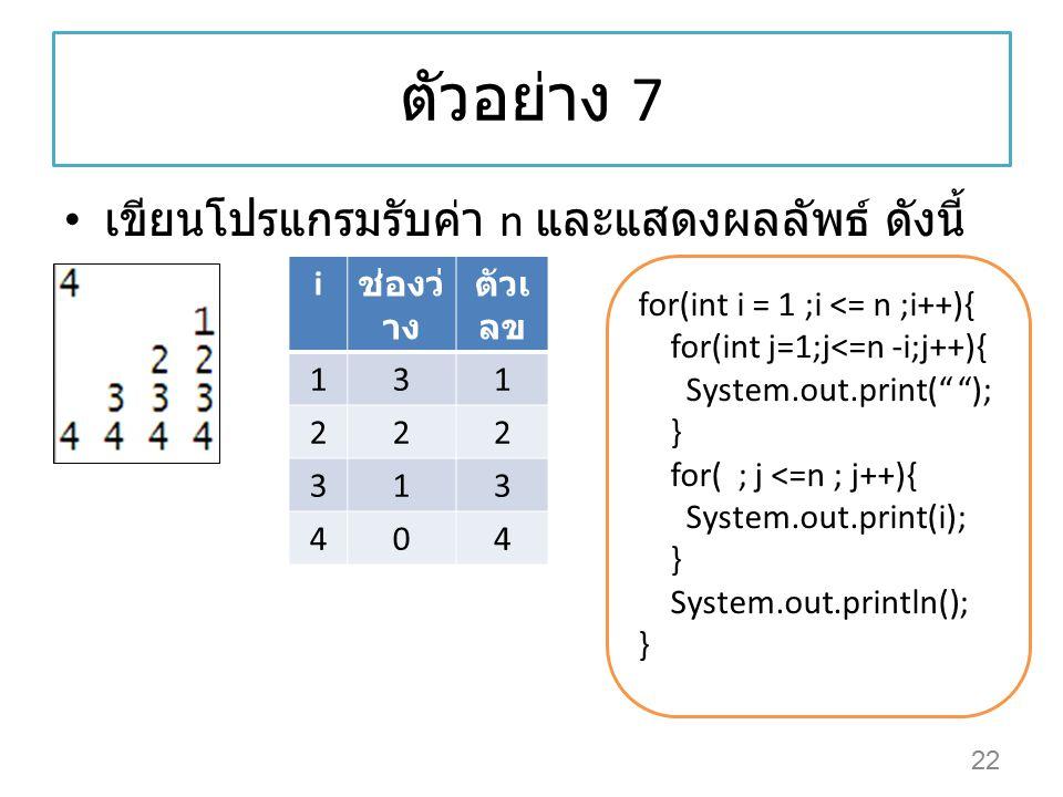 ตัวอย่าง 7 เขียนโปรแกรมรับค่า n และแสดงผลลัพธ์ ดังนี้ i ช่องว่าง