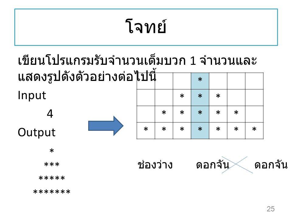 โจทย์ เขียนโปรแกรมรับจำนวนเต็มบวก 1 จำนวนและแสดงรูปดังตัวอย่างต่อไปนี้ Input 4 Output * * *** *****