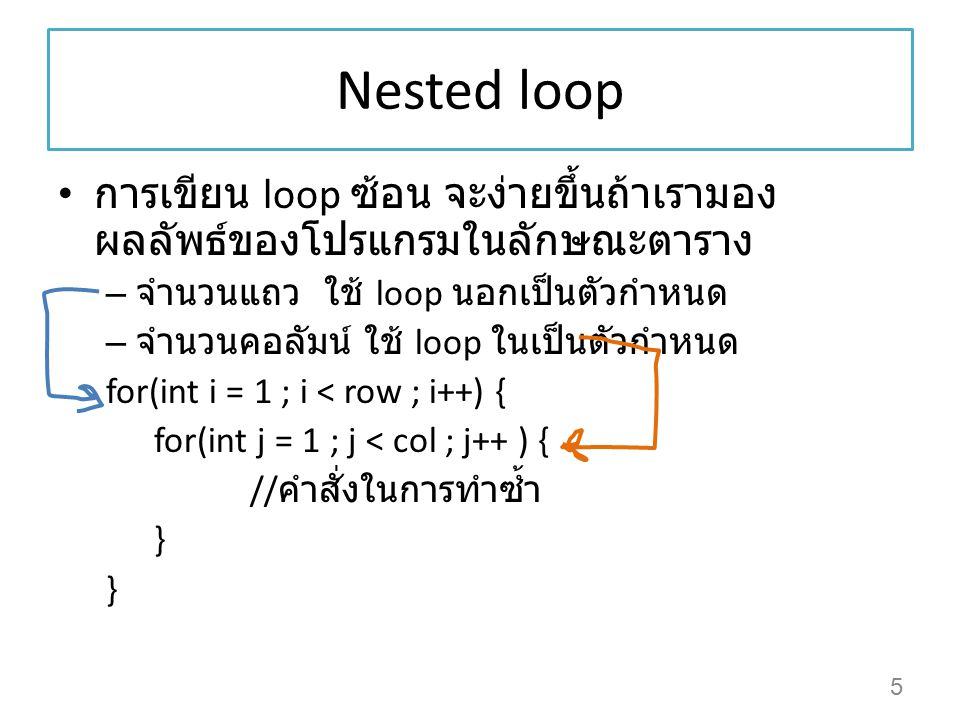 Nested loop การเขียน loop ซ้อน จะง่ายขึ้นถ้าเรามองผลลัพธ์ของโปรแกรมในลักษณะตาราง. จำนวนแถว ใช้ loop นอกเป็นตัวกำหนด.