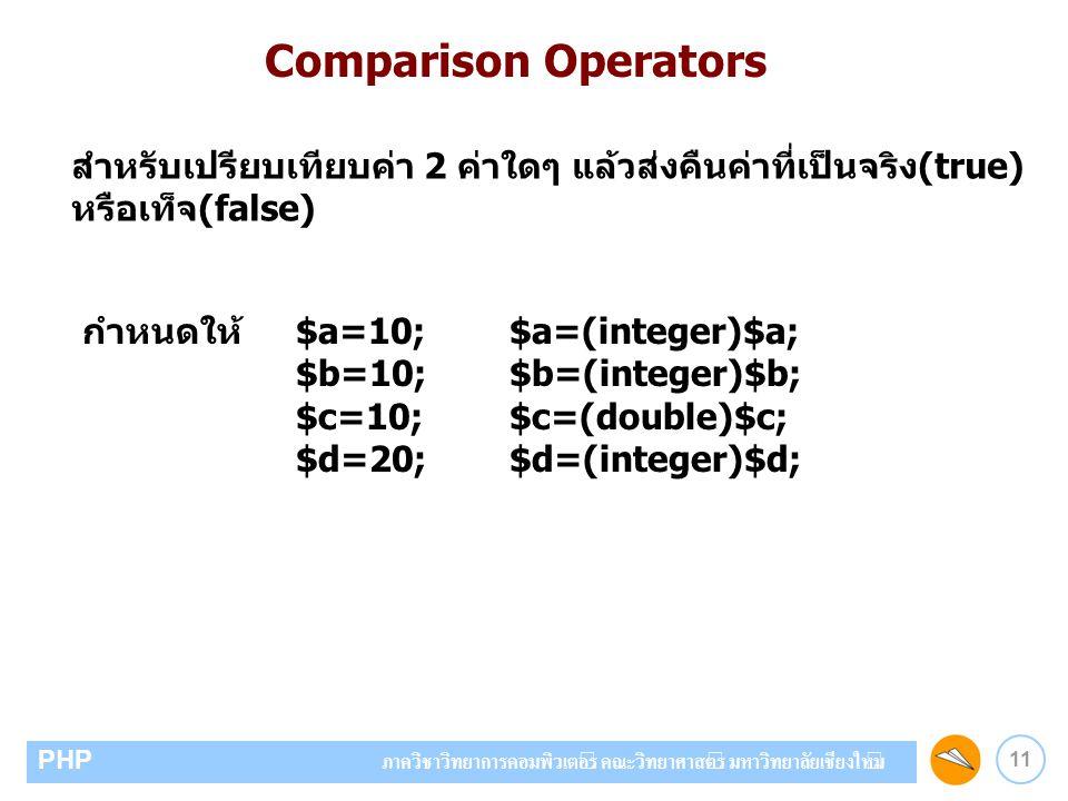 Comparison Operators สำหรับเปรียบเทียบค่า 2 ค่าใดๆ แล้วส่งคืนค่าที่เป็นจริง(true) หรือเท็จ(false) กำหนดให้ $a=10; $a=(integer)$a;