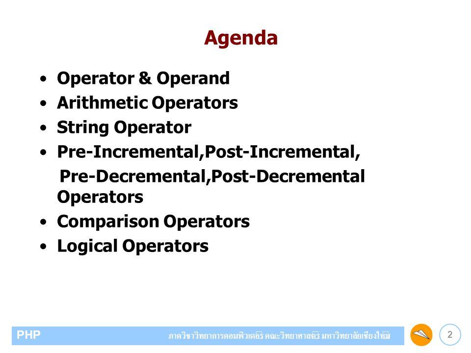Agenda Operator & Operand Arithmetic Operators String Operator