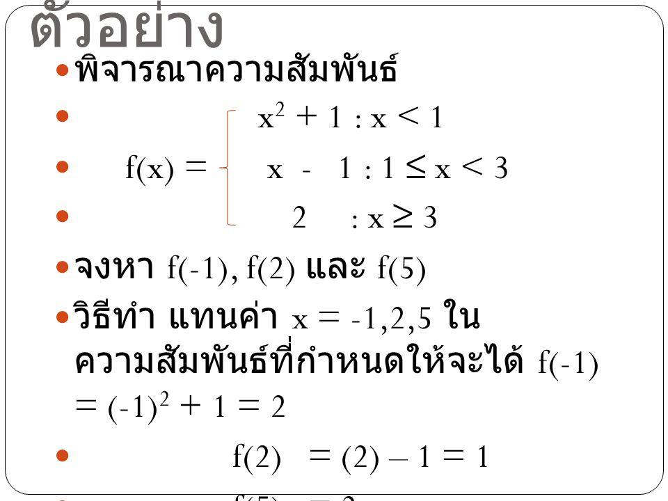 ตัวอย่าง พิจารณาความสัมพันธ์ x2 + 1 : x < 1