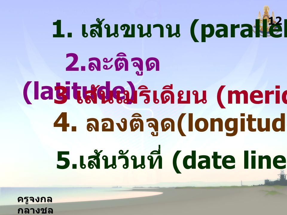 4. ลองติจูด(longitude) 1. เส้นขนาน (parallel) 2.ละติจูด (latitude)