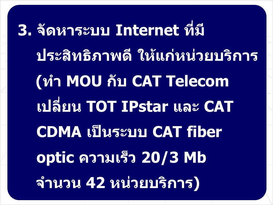3. จัดหาระบบ Internet ที่มีประสิทธิภาพดี ให้แก่หน่วยบริการ