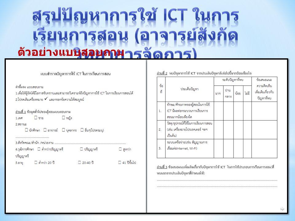สรุปปัญหาการใช้ ICT ในการเรียนการสอน (อาจารย์สังกัดวิทยาการจัดการ)