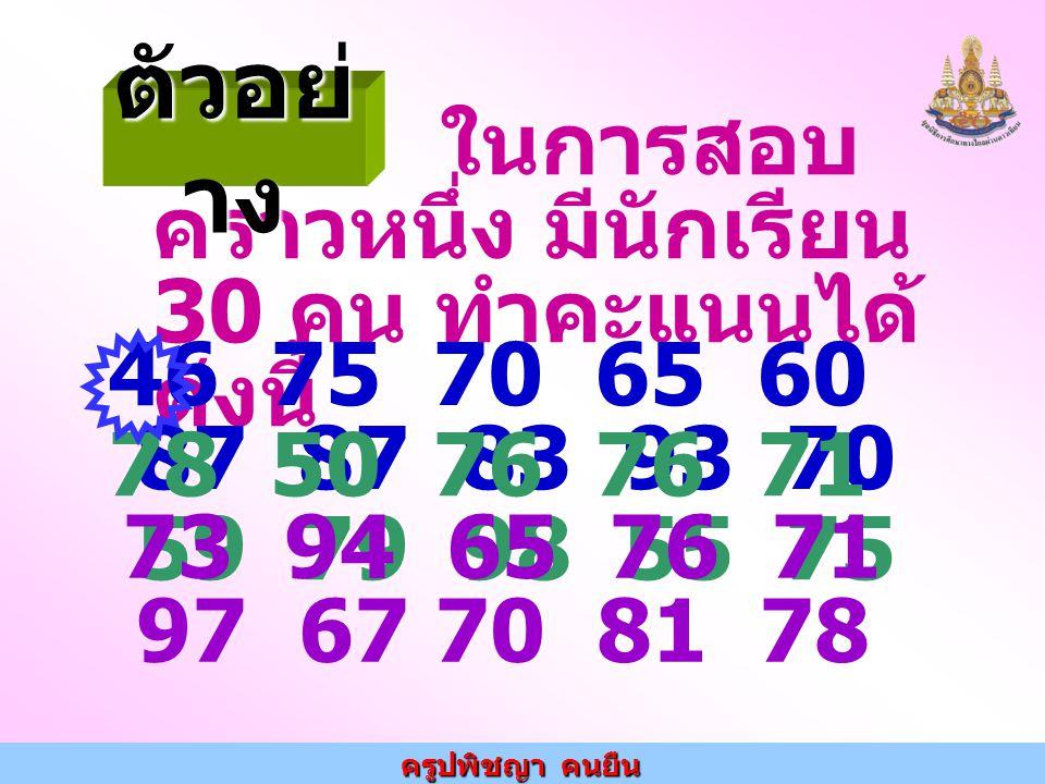 ตัวอย่าง ในการสอบคราวหนึ่ง มีนักเรียน 30 คน ทำคะแนนได้ดังนี้ 46 75 70 65 60 87 87 83 93 70.
