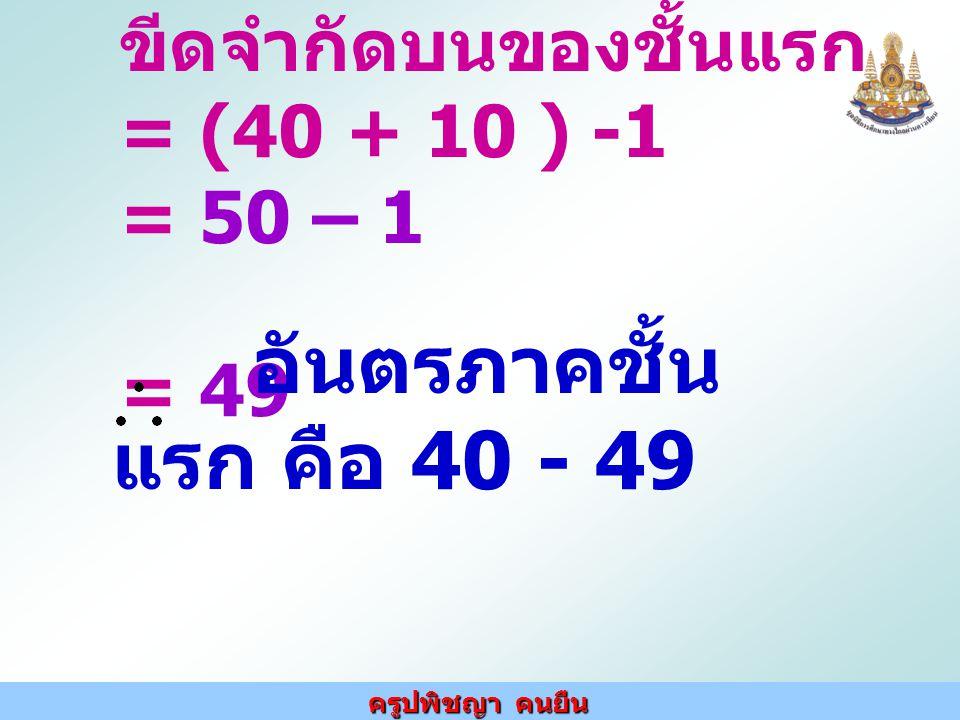 ขีดจำกัดบนของชั้นแรก = (40 + 10 ) -1 = 50 – 1 = 49