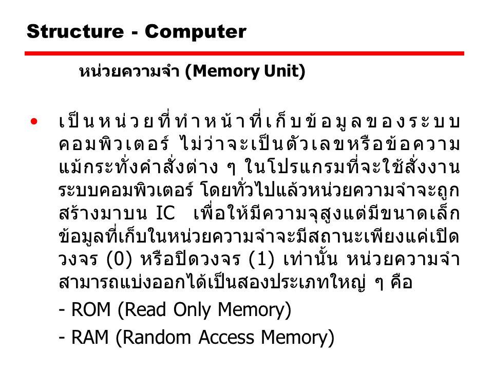 - ROM (Read Only Memory) - RAM (Random Access Memory)