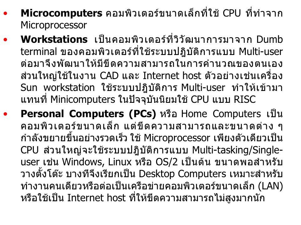 Microcomputers คอมพิวเตอร์ขนาดเล็กที่ใช้ CPU ที่ทำจาก Microprocessor