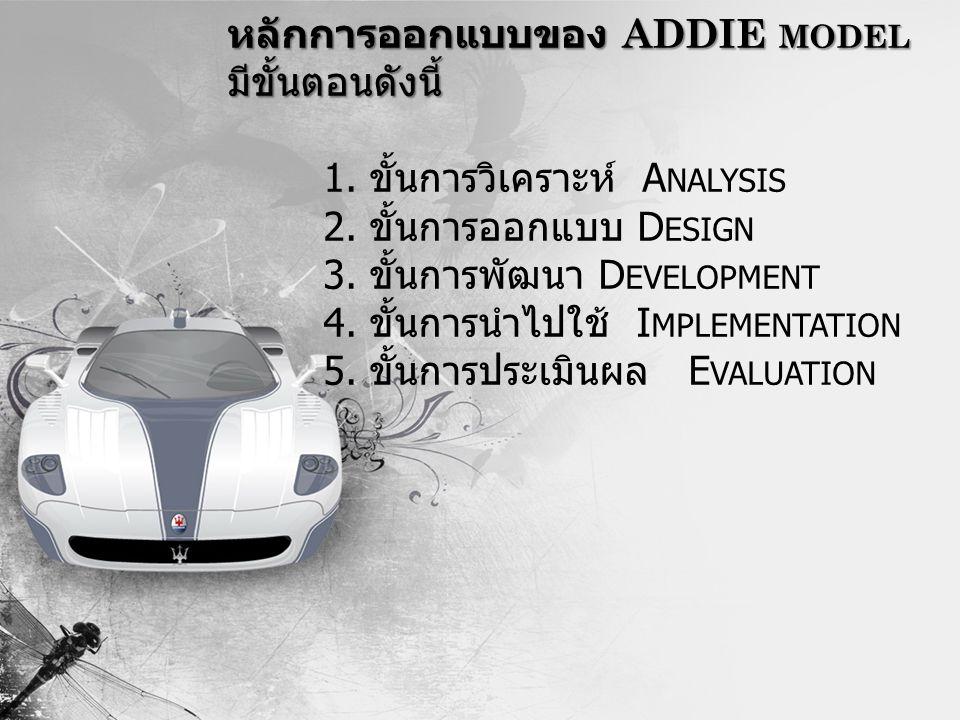 หลักการออกแบบของ ADDIE model มีขั้นตอนดังนี้. 1