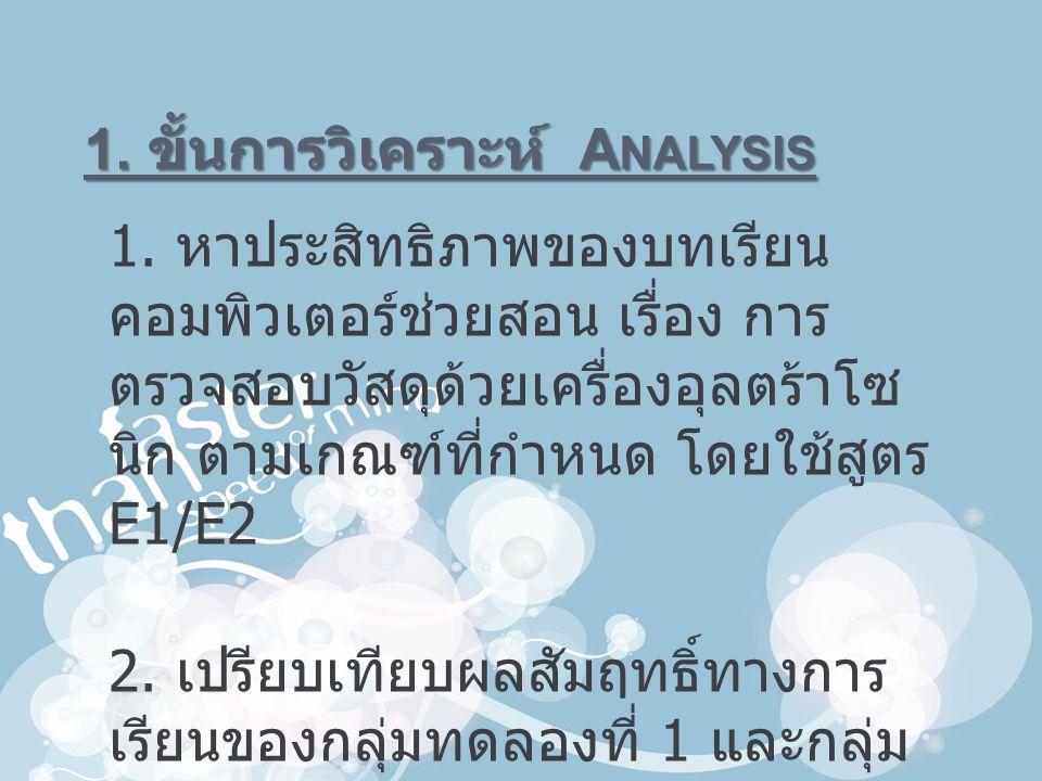 1. ขั้นการวิเคราะห์ Analysis