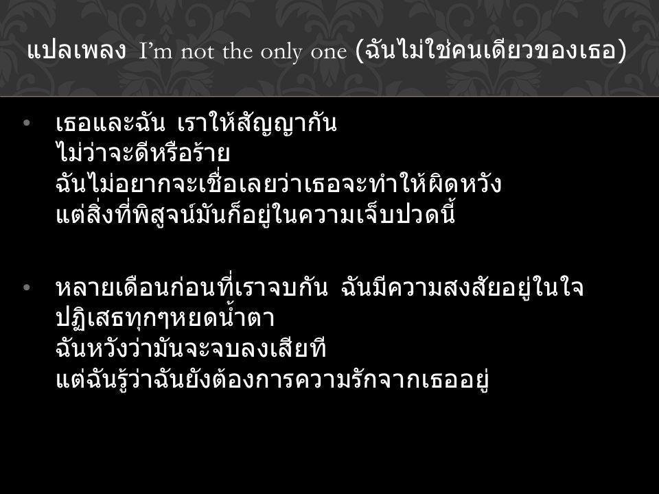 แปลเพลง I'm not the only one (ฉันไม่ใช่คนเดียวของเธอ)
