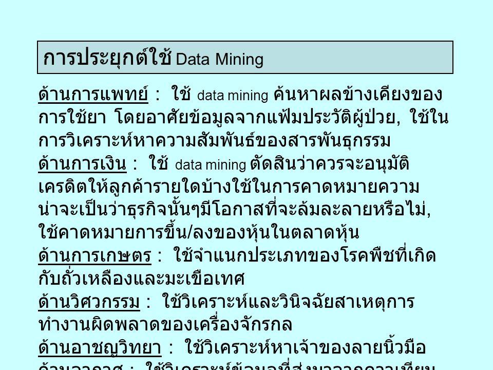 การประยุกต์ใช้ Data Mining