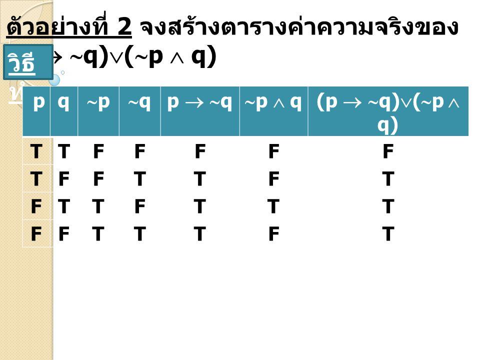 ตัวอย่างที่ 2 จงสร้างตารางค่าความจริงของ (p  q)(p  q)