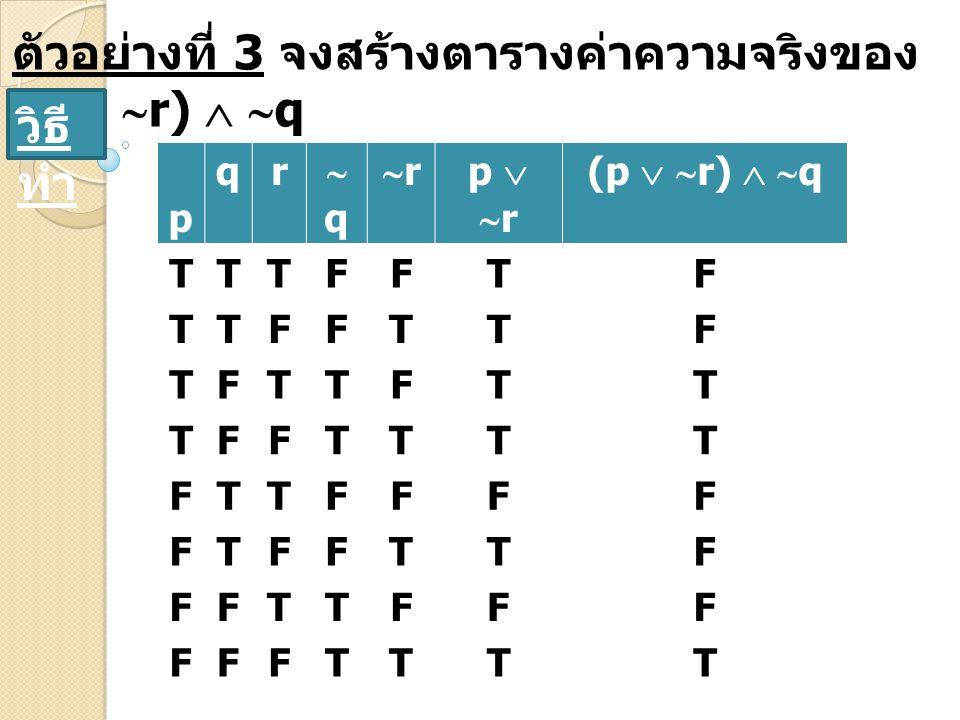 ตัวอย่างที่ 3 จงสร้างตารางค่าความจริงของ (p  r)  q
