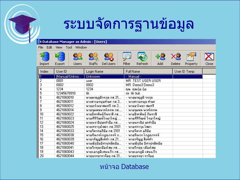 ระบบจัดการฐานข้อมูล หน้าจอ Database