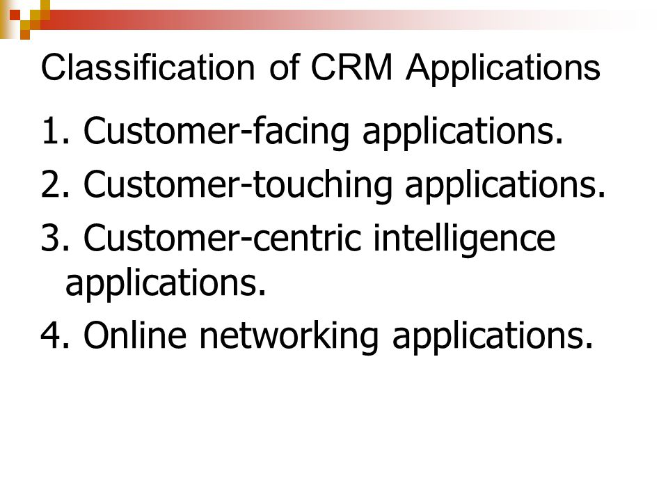 Classification of CRM Applications