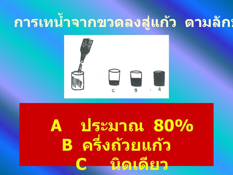 A ประมาณ 80% B ครึ่งถ้วยแก้ว