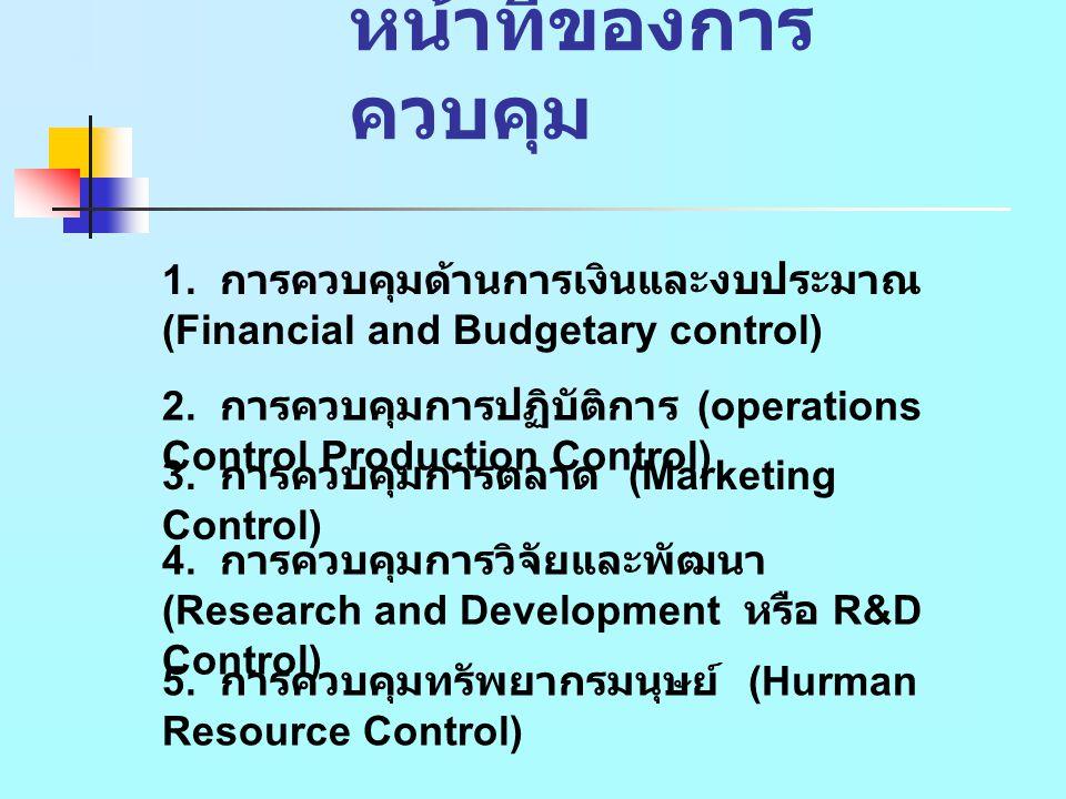 หน้าที่ของการควบคุม 1. การควบคุมด้านการเงินและงบประมาณ (Financial and Budgetary control)
