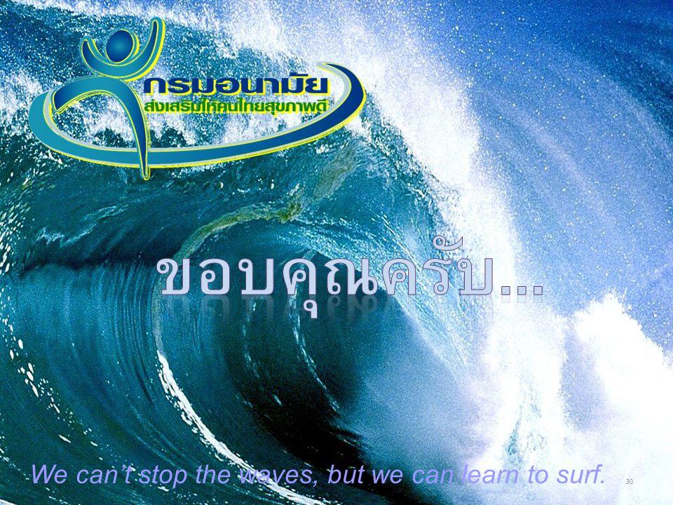 ขอบคุณครับ... We can't stop the waves, but we can learn to surf.