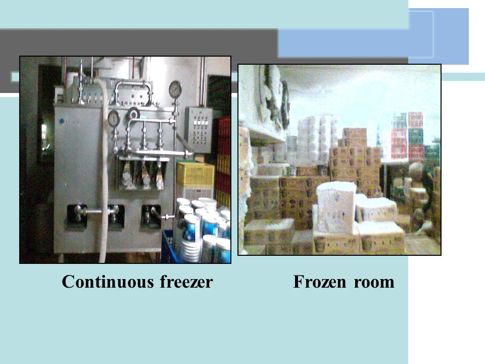 Continuous freezer Frozen room