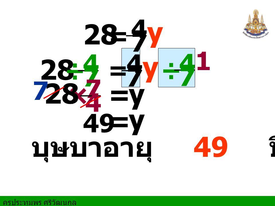 y 28 y 28 28 × = y y = บุษบาอายุ 49 ปี = 4 7 1 ÷ 4 7 4 7 ÷ 4 7 = 7 4 7