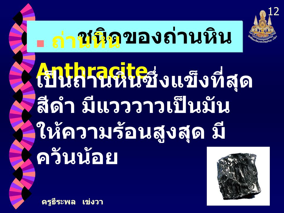 ชนิดของถ่านหิน ถ่านหิน Anthracite