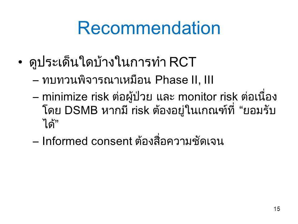 Recommendation ดูประเด็นใดบ้างในการทำ RCT