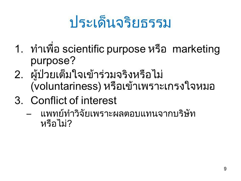 ประเด็นจริยธรรม ทำเพื่อ scientific purpose หรือ marketing purpose