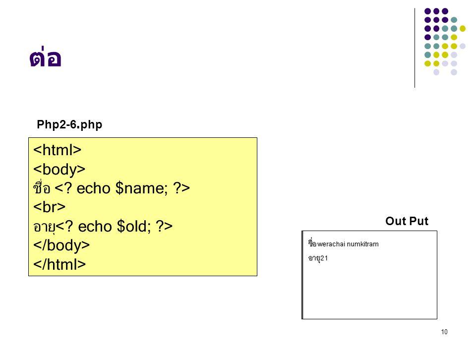 ต่อ Php2-6.php. <html> <body> ชื่อ <. echo $name; > <br> อายุ<.