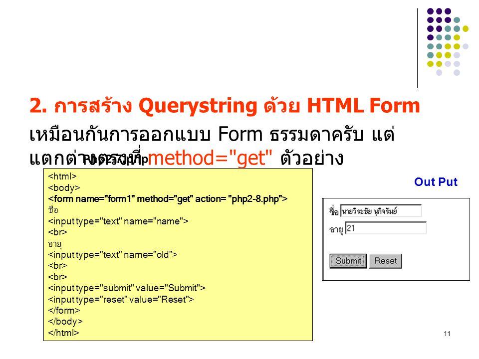 2. การสร้าง Querystring ด้วย HTML Form
