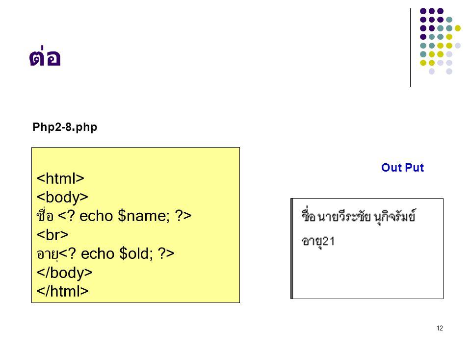 ต่อ Php2-8.php. <html> <body> ชื่อ <. echo $name; > <br> อายุ<.