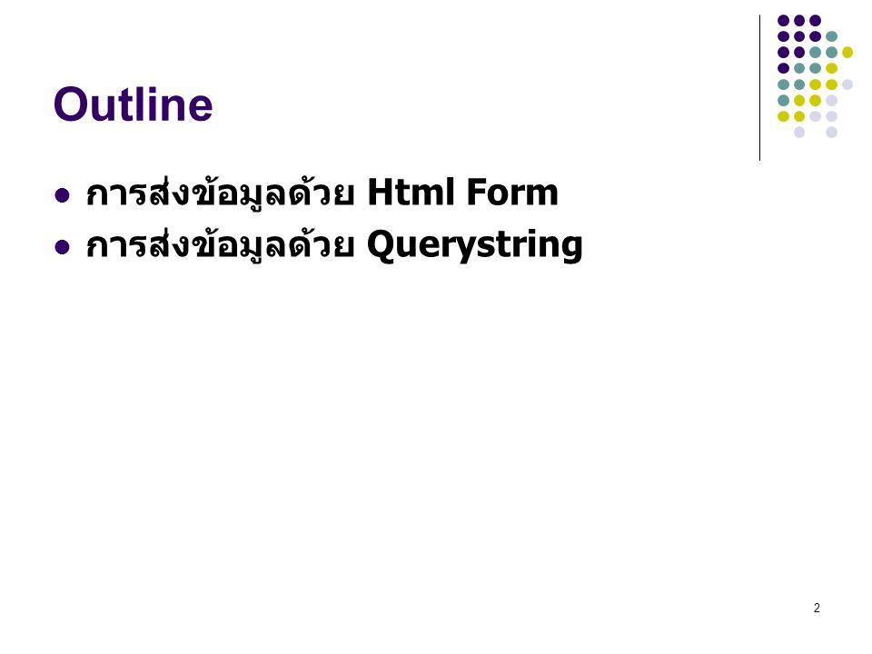 Outline การส่งข้อมูลด้วย Html Form การส่งข้อมูลด้วย Querystring