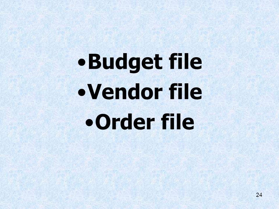Budget file Vendor file Order file