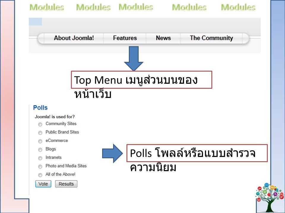 Top Menu เมนูส่วนบนของหน้าเว็บ