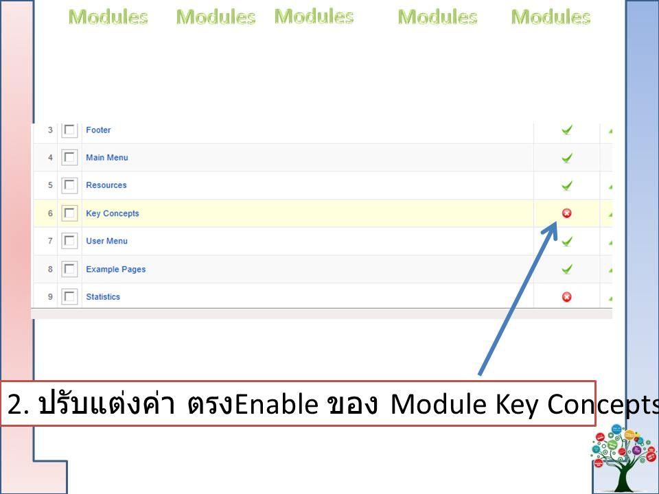 2. ปรับแต่งค่า ตรงEnable ของ Module Key Concepts