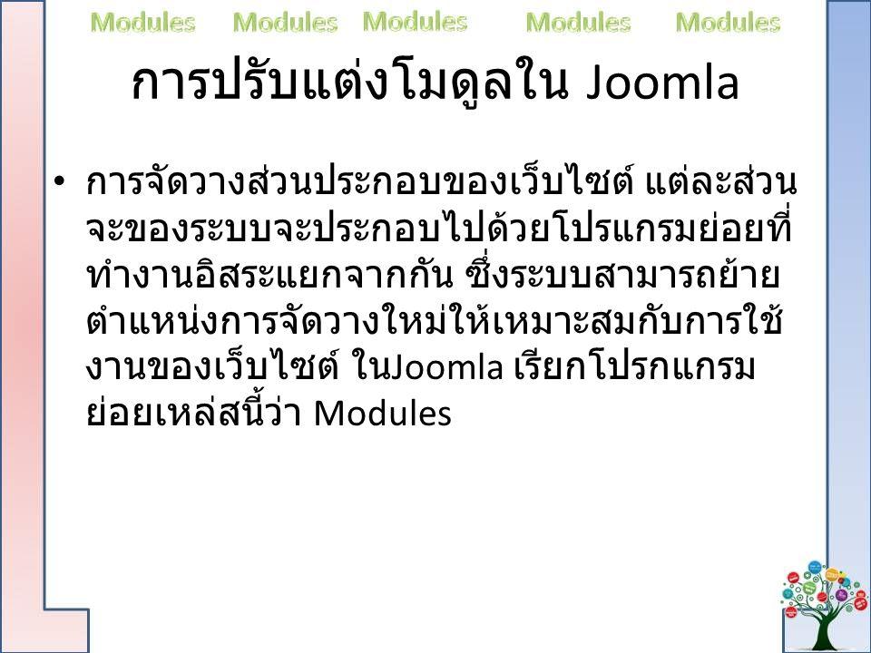 การปรับแต่งโมดูลใน Joomla