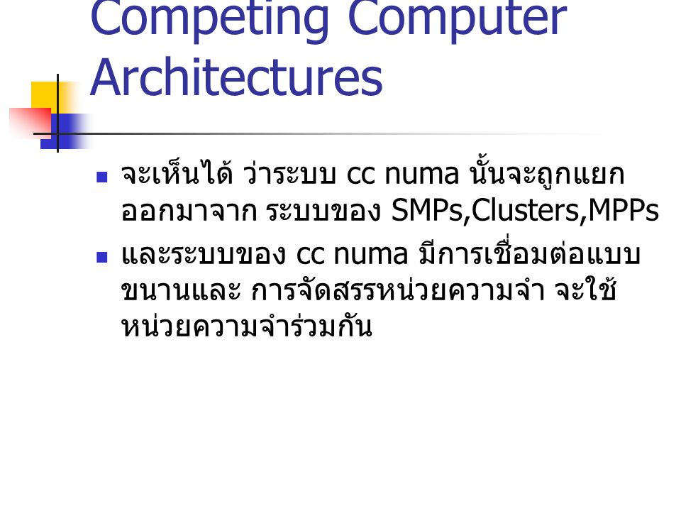Competing Computer Architectures