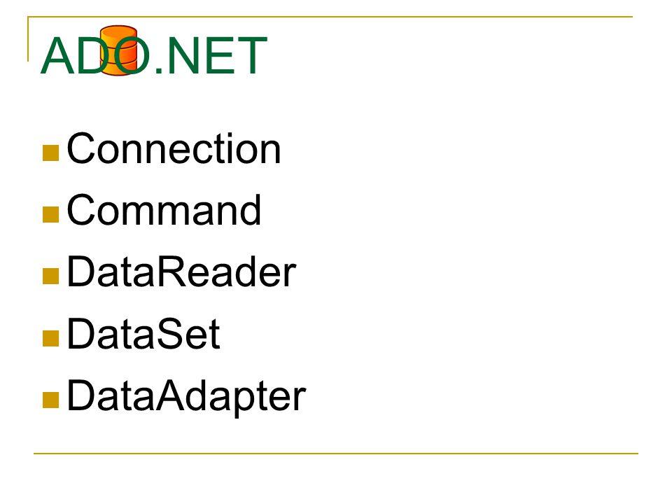 ADO.NET Connection Command DataReader DataSet DataAdapter