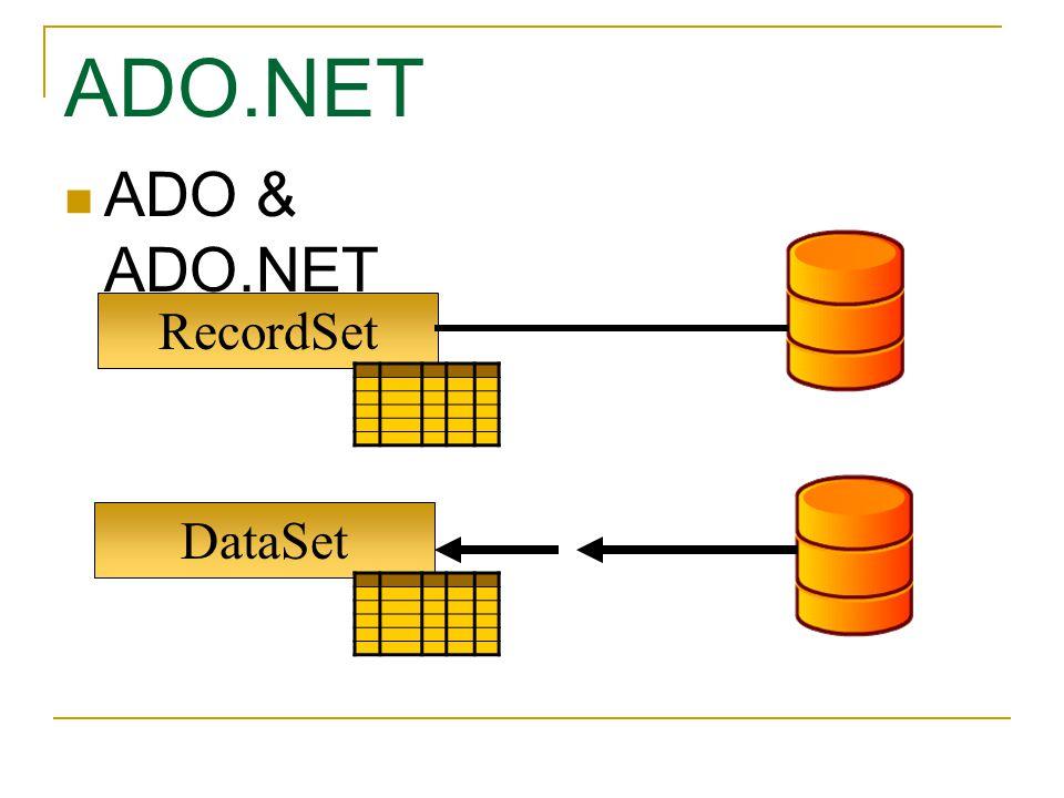 ADO.NET ADO & ADO.NET RecordSet DataSet