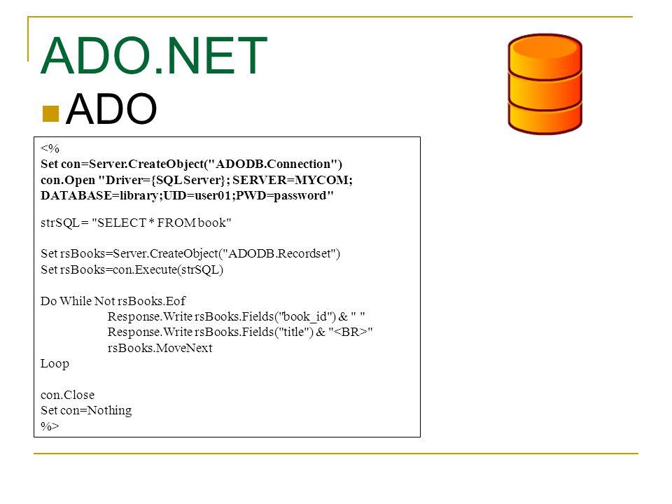 ADO.NET ADO <% Set con=Server.CreateObject( ADODB.Connection )