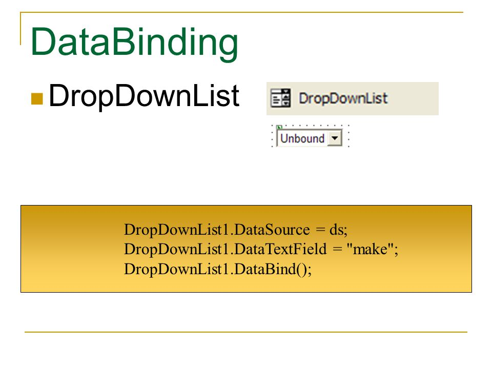 DataBinding DropDownList DropDownList1.DataSource = ds;