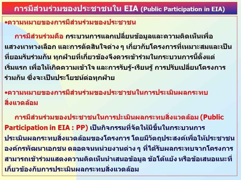 การมีส่วนร่วมของประชาชนใน EIA (Public Participation in EIA)